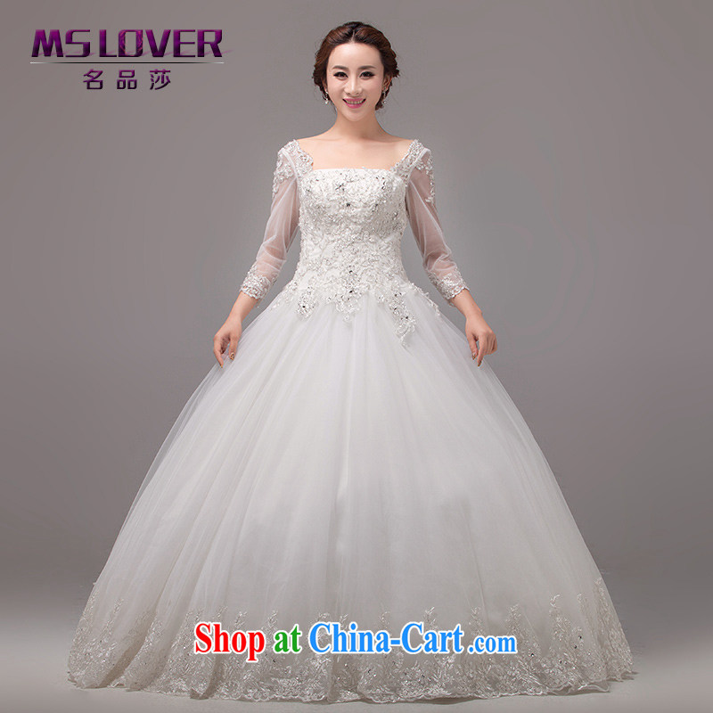 MSLover Korean-style wedding long-sleeved cultivating a large shaggy dress with a cuff with wedding 0045 m White tailored
