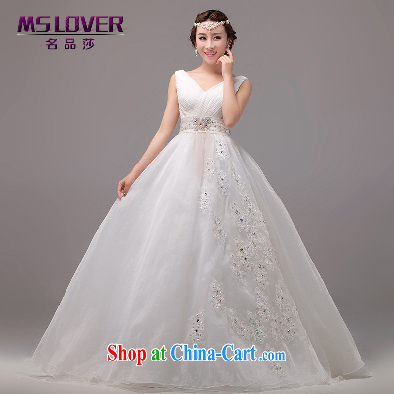 MSLover elegant double-shoulder Princess bridal beauty large skirts with tie wedding 2217 m White tailored