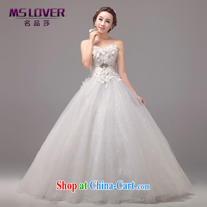 The MSLover skirt with ultra-tents Korean-style wedding dream flowers style graphics thin Princess bride wiped his chest to tie wedding 2264 m White tailored