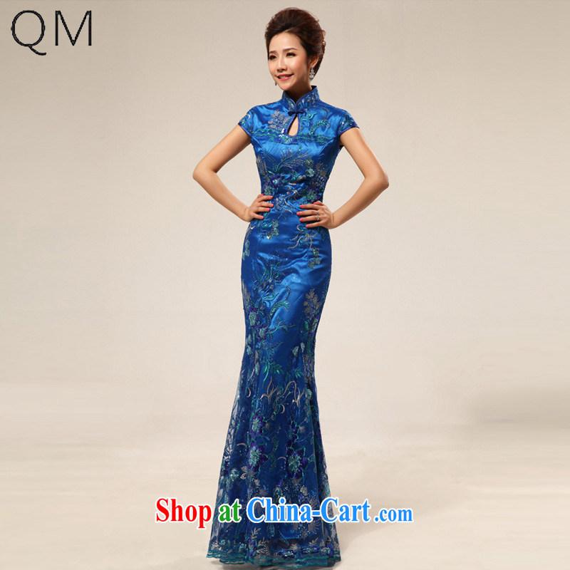 light at the retro marriage ceremonies improved cheongsam hospitality service ceremonial dress CTX cheongsam dress 67 blue XXL