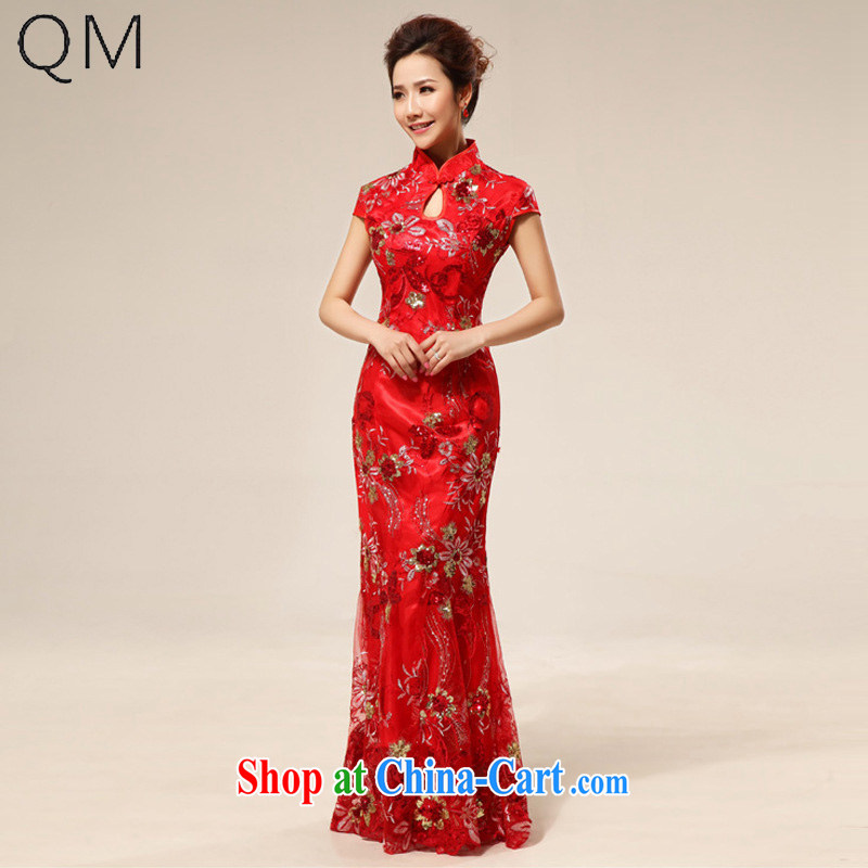 Shallow end marriages cheongsam dress stylish improved lace retro red CTX QP 64 red XXL