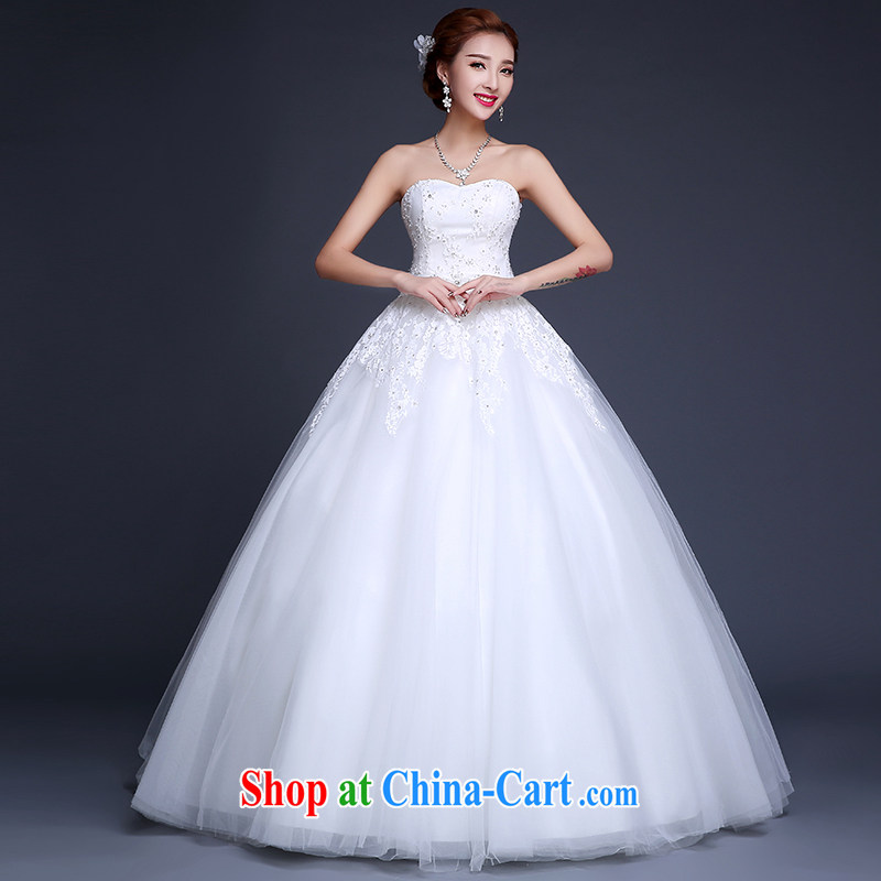 Qi wei summer 2015 new wedding dresses upscale bridal new Korean version with graphics thin Mary Magdalene Beauty Chest tied with a large, antique wood drill white XXL