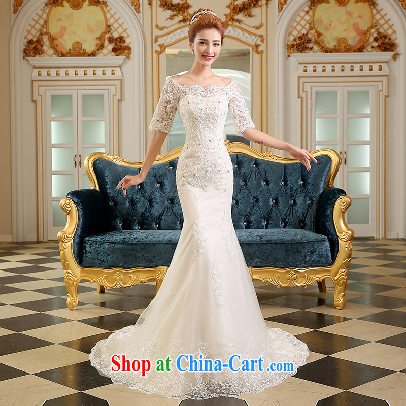 Qi wei bridal wedding dresses shoulders new, summer 2015 new stylish Korean crowsfoot cultivating high-tail tied with the code inserts drill white XXL