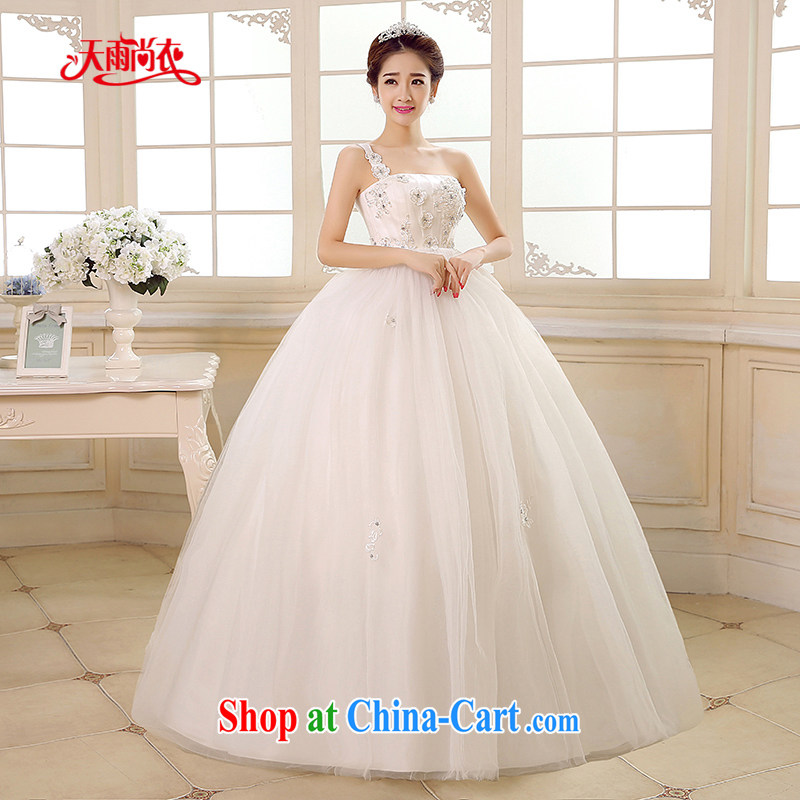 Rain is still Yi 2015 new bride wedding dress white Princess single shoulder stylish and high class graphics thin large, pregnant high waist wedding HS 892 white XXL