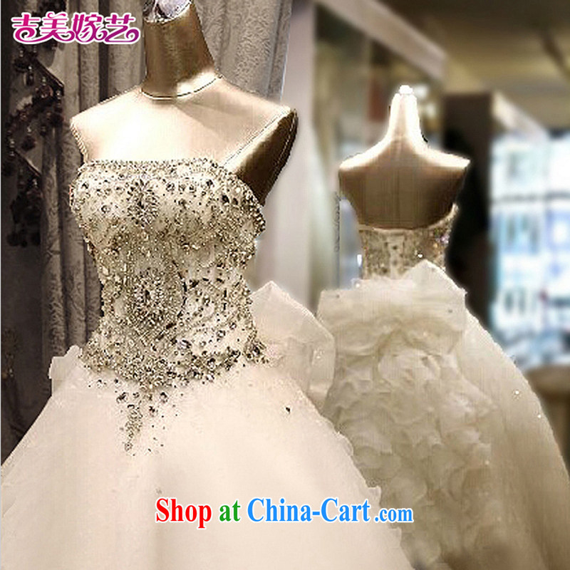 Jimmy married arts wedding dresses 2015 new Korean version wiped chest graphics thin Crystal Diamond tail 7660 bridal wedding 1M tail XXL