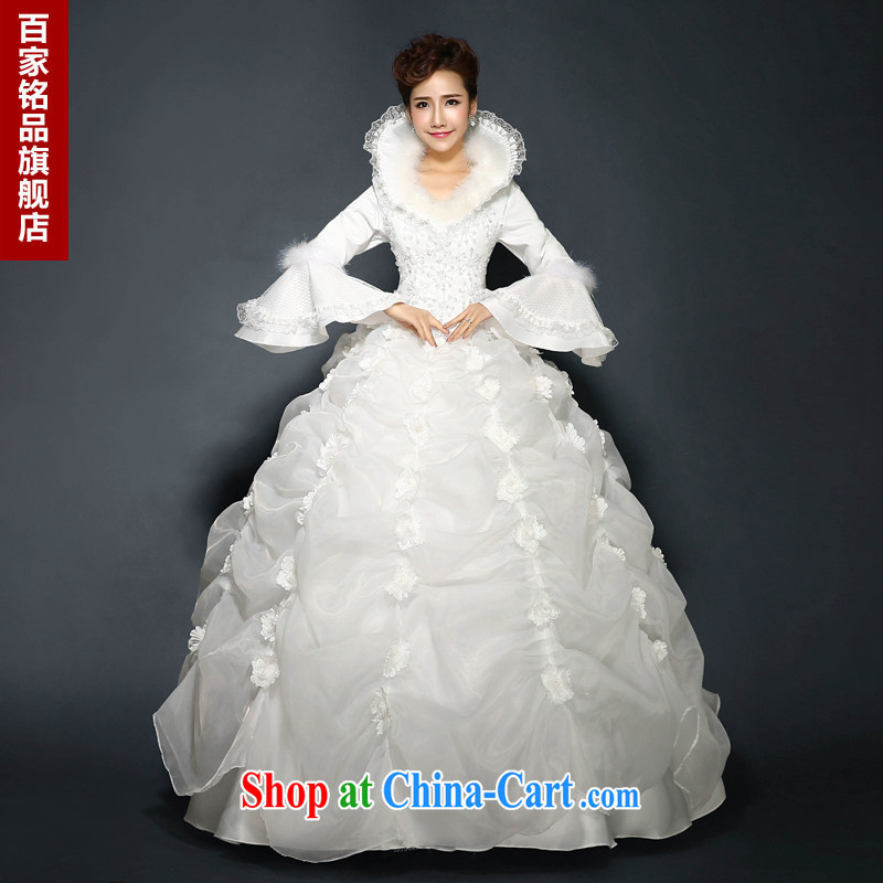 Wedding winter white 2015 new stylish marriages winter long-sleeved lace quilted thick warm winter, cultivating shaggy skirts new products to white. size 5 - 7 day shipping