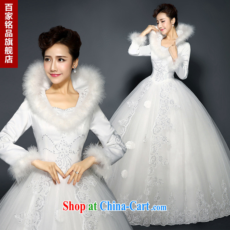 New 2015 spring new wedding Korean V gross for their alignment with long-sleeved bridal field shoulder winter clothes wedding quilted large code-waist graphics thin genuine white Custom size 7 day shipping