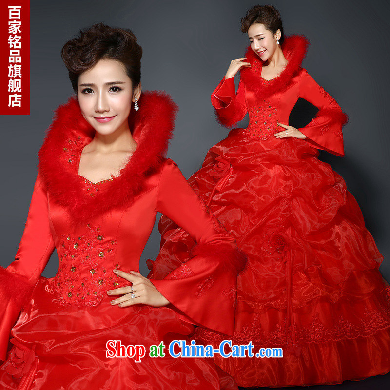 Red wedding dresses, winter 2015 new stylish red winter and cotton thick long-sleeved wool for the code graphics thin winter clothes wedding new promotions and package mail red Custom size 7 day shipping