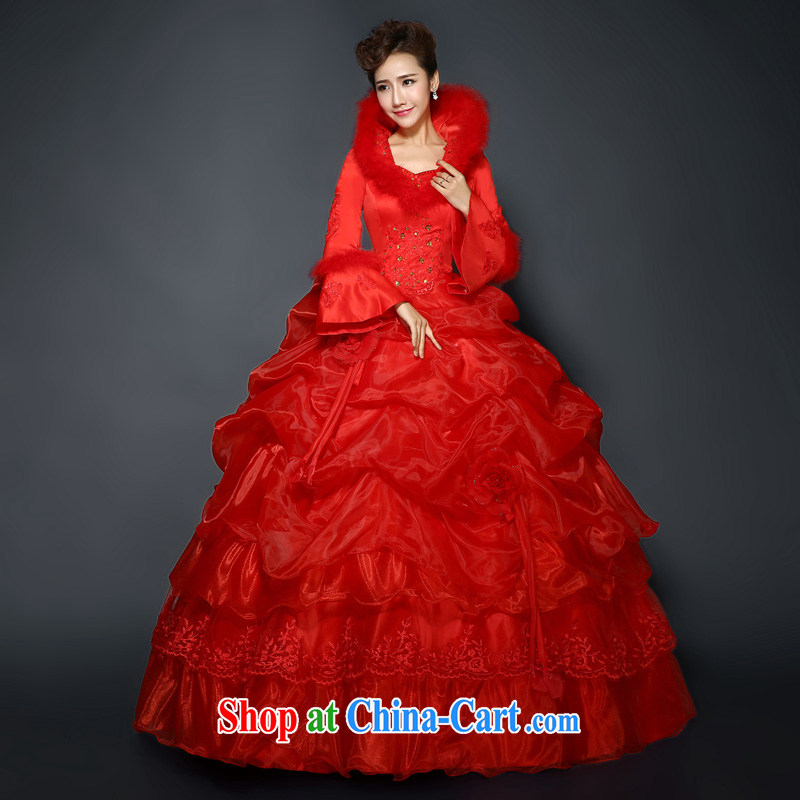 Red wedding, winter 2015 new stylish red winter and cotton thick long-sleeved wool for the code graphics thin winter clothes wedding new promotions and package mail red Custom size 7 Day Shipping, 100 Ka-ming, and shopping on the Internet