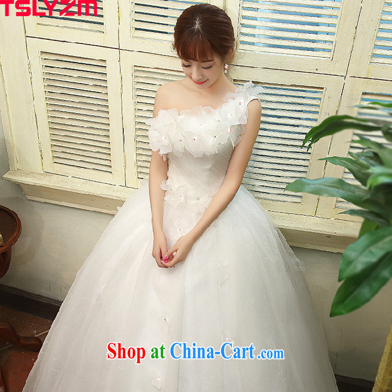 Tslyzm bride single shoulder wedding dresses 2015 new Korean sweet flowers a shoulder graphics thin diamond wedding canopy skirts home yarn white XXL