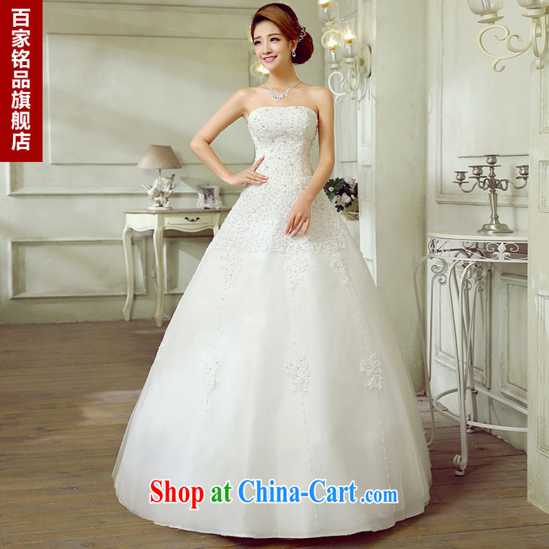 Wedding white summer 2015, new sense of bare chest Korean wood drilling upscale A Field dress the waist graphics thin with straps wedding new promotions National White Custom size 7 day shipping
