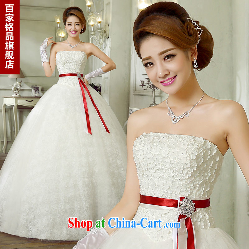 Wedding white romantic Rose Petal Turndown 2015 new stylish sweet flowers bridal beauty the waist graphics thin wiped his chest, wedding dresses national package mail white Custom size 7 day shipping