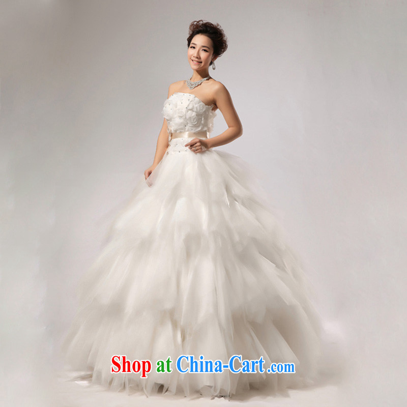 Light (at the end) QM VERY WANG retro elegant sweet bride wiped his chest stylish wedding CTX HS 268 meters white XXL, shallow end, shopping on the Internet