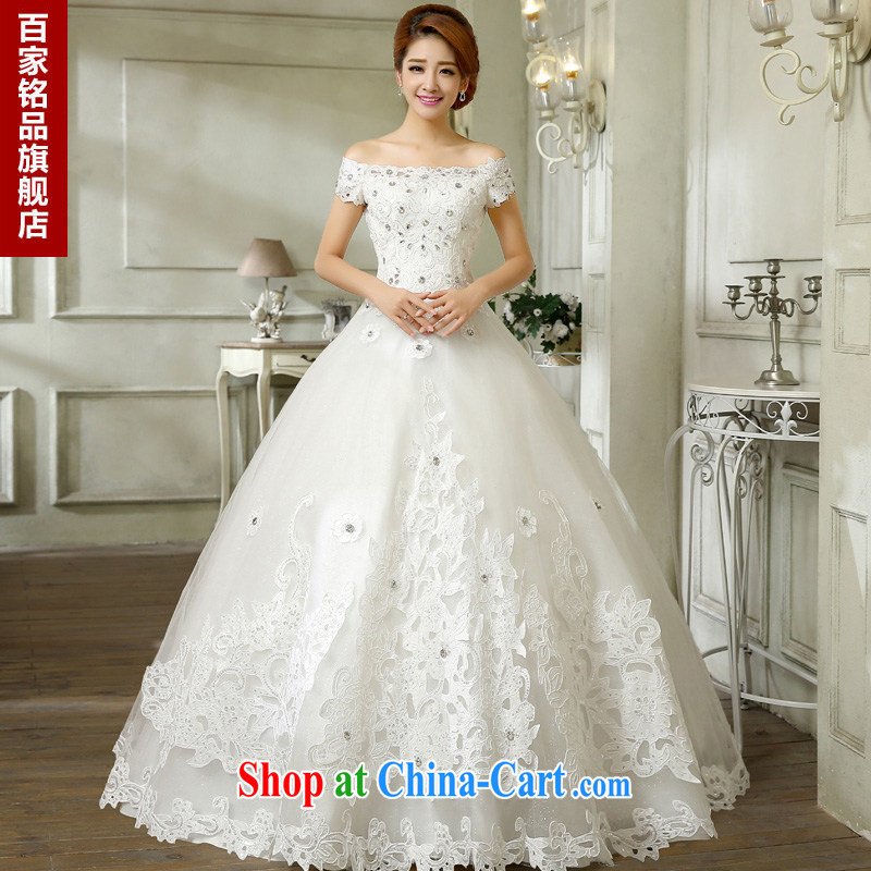 wedding dresses 2015 new Korean stylish lace-wood drill shoulder a shoulder with wedding Korean Beauty shaggy skirts new promotions national package mail white L