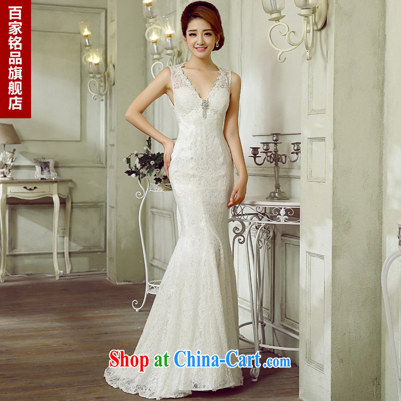 wedding dresses the Field shoulder 2015 Korean brides new dual-shoulder V collar sexy back exposed cultivating the waist at Merlion small trailing white wedding dresses, genuine package mail white XXL demand 5 - 7 day shipping