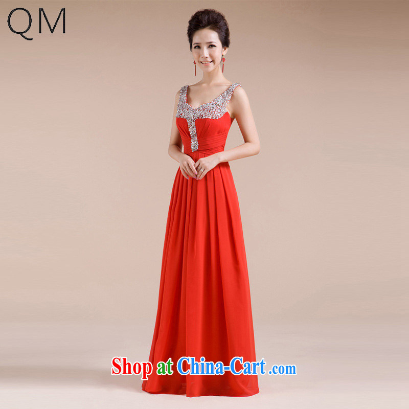 Shallow end _QM_ Wedding bridal wedding dress evening gown toasting service CTX LF - 1005 red XXL