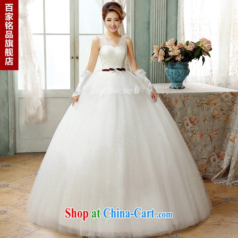 2015 new Korean wedding with graphics thin Korean simple bowtie a shoulder Deep V collar with tie bridal wedding dresses new products bundle mail white Custom size 7 day shipping