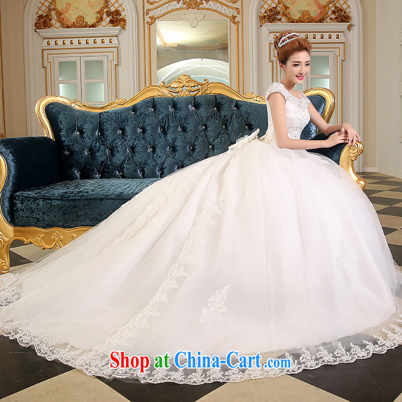Sophie HIV than a shoulder-tail wedding dresses summer 2015 new Korean style wedding lace bridal wedding dress tied with a large code wedding white L