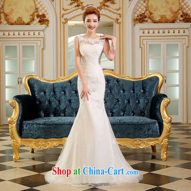 Sophie HIV than crowsfoot wedding dresses summer 2015 new Korean style wedding a Field shoulders beauty Wedding Video thin bridal wedding dress tail wedding white M