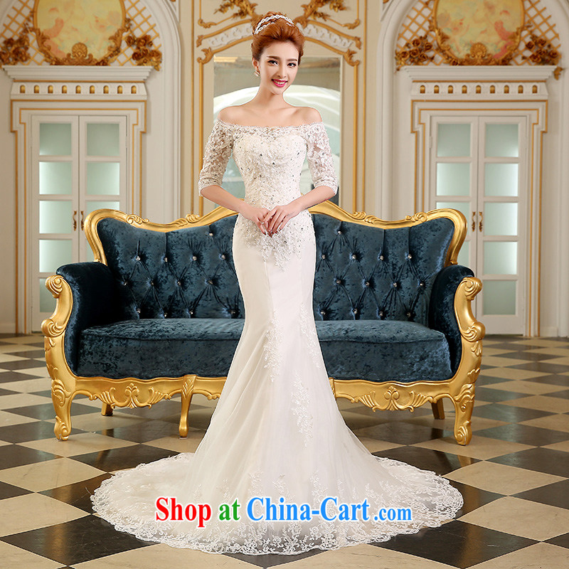 Sophie HIV than wedding dresses new summer 2015, Korean fashion bridal dresses the Field shoulder crowsfoot wedding lace tied with the code-tail wedding white XXL