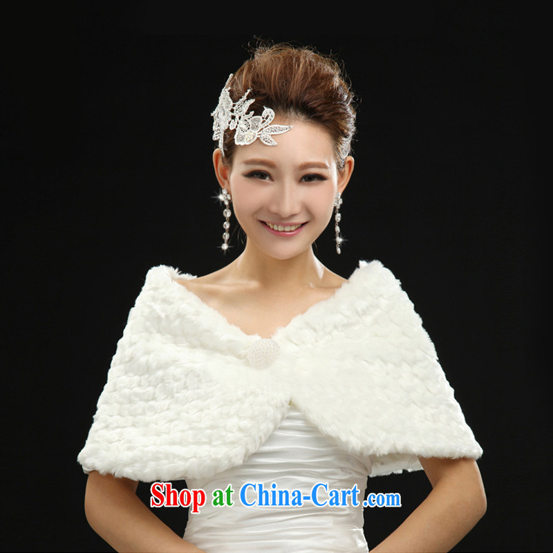 Sophie than AIDS 2015 new wedding dresses with white thick emulation Fox plush shawl autumn and winter warm bride wedding shawl white