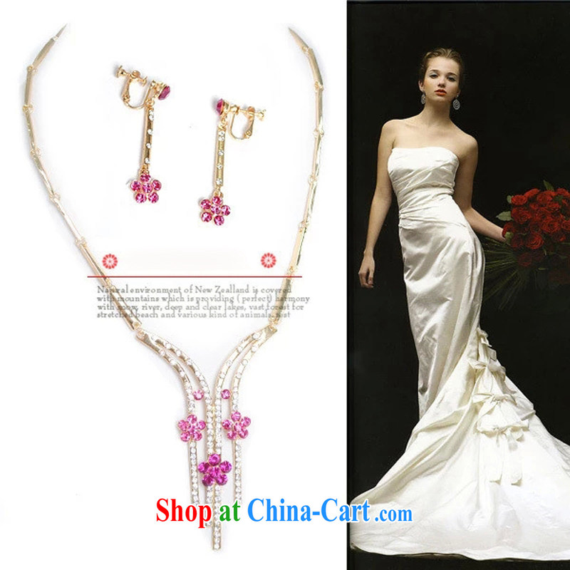 Bridal wedding dresses Accessories Kit Korean bridal suite chain jewelry 2015 new marriage necklace TL 0002 red ear.