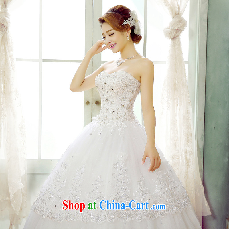 Korean-style luxury parquet drill wedding dresses women 2015 new summer with the waist bare chest sweet Princess dresses Home fall/winter white wedding dresses and white Custom Size 7 Day Shipping, 100 Ka-ming, and shopping on the Internet