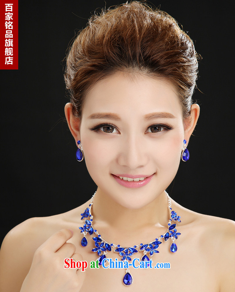 100 Ka-ming, bridal jewelry necklace earrings wedding dresses accessories flash inserts drill blue alloy necklace