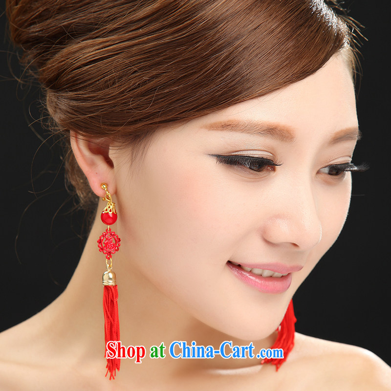 Manual antique China wind Openwork well field earrings long red flow, bridal earrings
