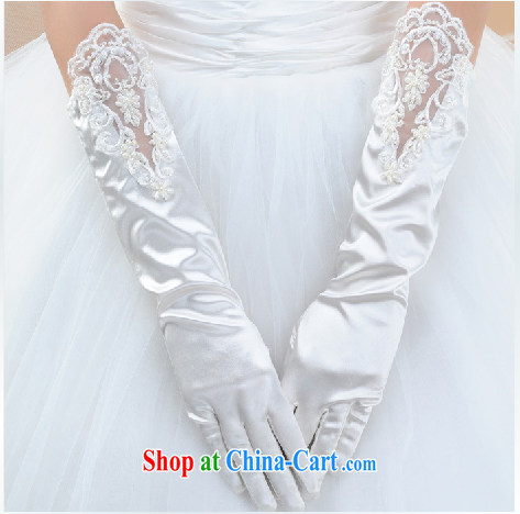 White long lace bridal gloves wedding in the Openwork flower wedding gloves wedding dresses accessories gloves