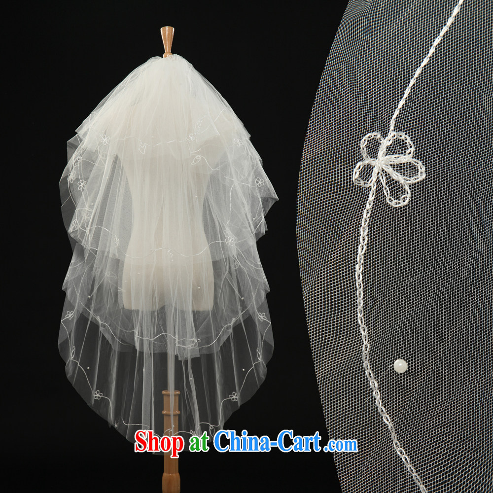 Hot new bride's head yarn lace wedding dresses and yarn layer 4 embroidery thread beads and yarn Korean-style wedding dress accessories