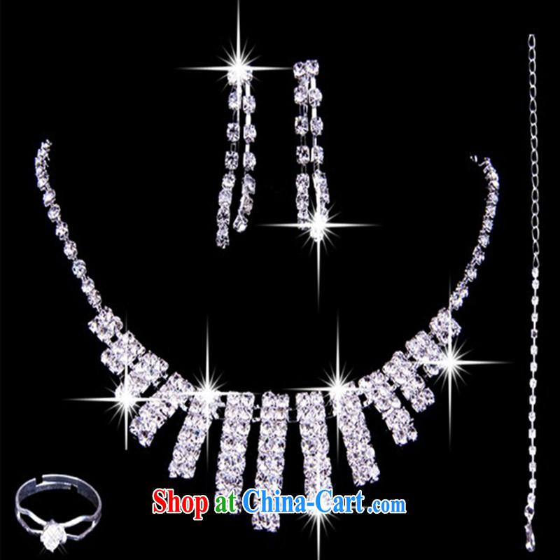 Korean bridal jewelry 4-piece kit necklace jewelry earrings rings wedding dresses accessories accessories shadow floor