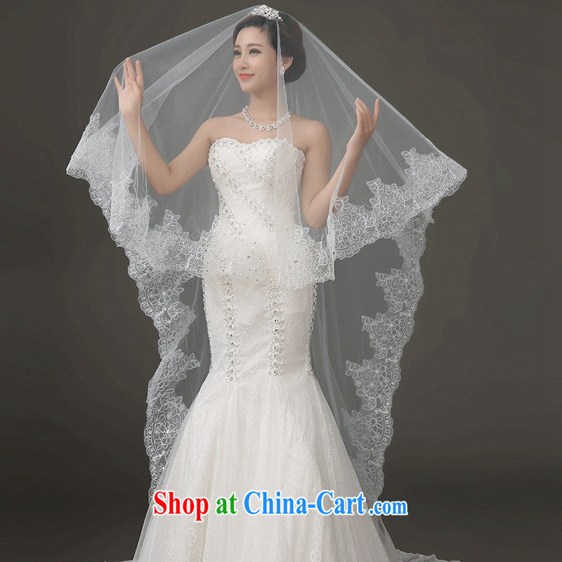 Marriages and legal long-tail-won 2015 autumn and winter new lace wedding wedding and yarn white wedding and yarn white
