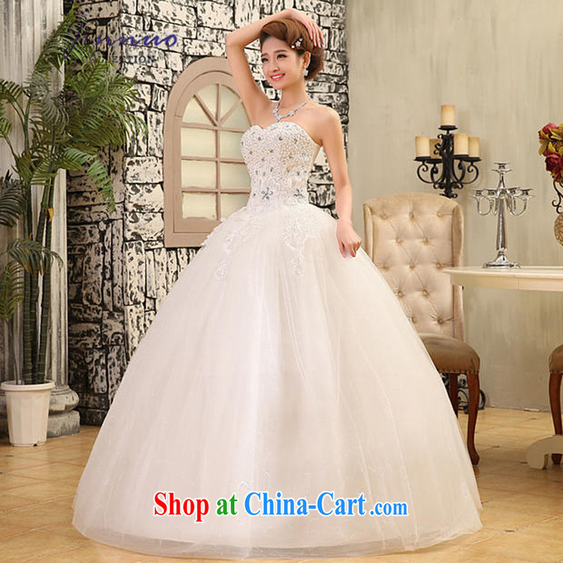 kam world the Hyatt 2014 new high-end quality Korean stars, elegant and stylish, water drilling erase chest wedding Korean Beauty bridal shaggy dress dress white tie, XL, Kam-world, Yue, and shopping on the Internet
