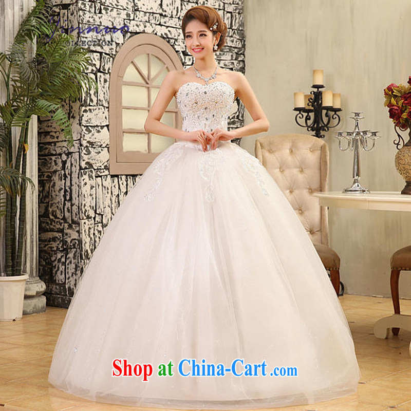 kam world the Hyatt Korea Celebrities and stylish nails Pearl water drilling erase chest wedding Korean Beauty bridal shaggy dress dress wedding 2015 spring white tie, XL