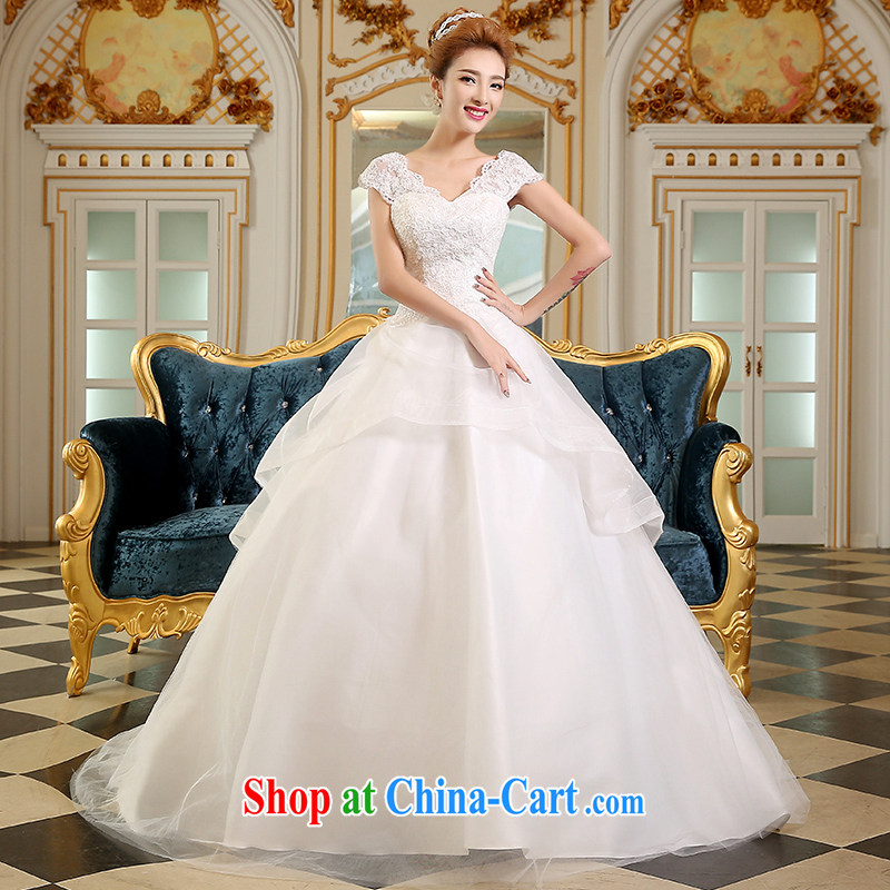 The Vanessa wedding dresses 2015 summer new marriages larger wedding Korean lace wedding white shoulders back exposed wedding long-tail wedding white XL _fine decals elegant tails_
