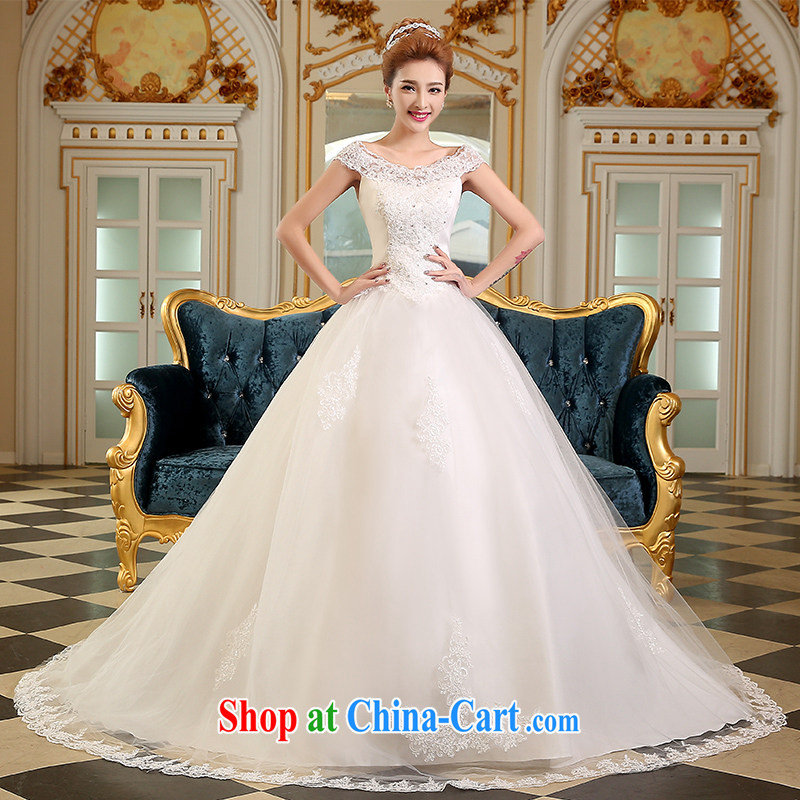 The Vanessa wedding dresses 2015 summer new Bridal Fashion Korean version a double-shoulder lace wedding white long-tail wedding beauty tie wedding white XL (tie-down design stereo-lumbar)