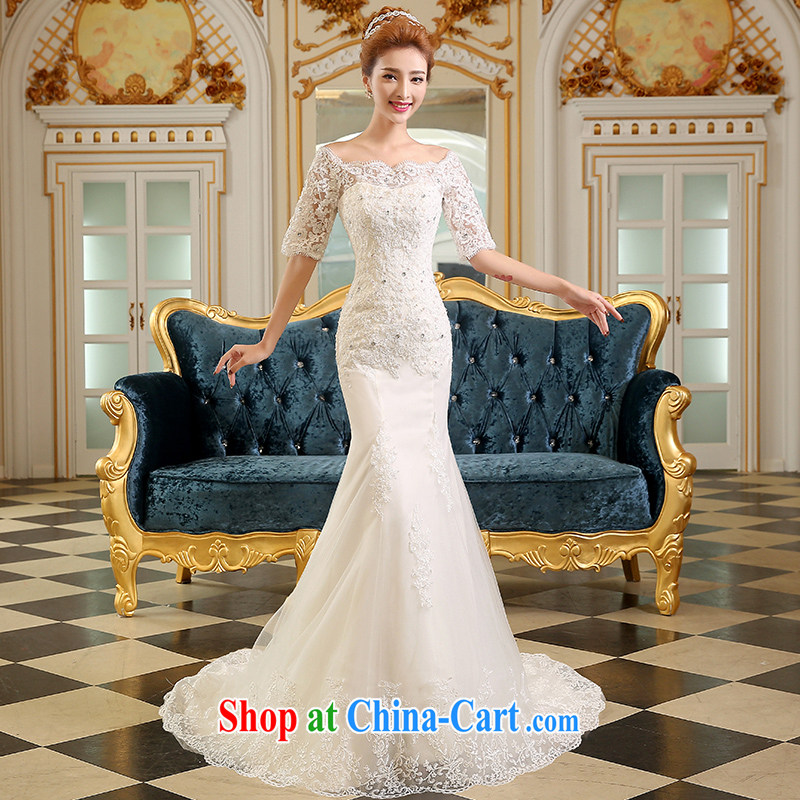 The Vanessa wedding dresses 2015 summer Korean bridal wedding dress long white, large, cultivating a crowsfoot field double-shoulder cuff in small-tail strap wedding white XL _the Chest on the 3 piece_