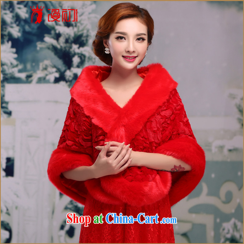 Early definition 2015 new large red winter thick increase gross shawl wedding dresses accessories accessories red