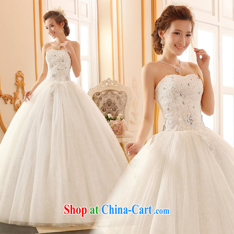 100 the ball wedding dresses new 2015 winter Korean fashion erase chest wedding lace straps bridal wedding, wedding with wedding dresses white XXL