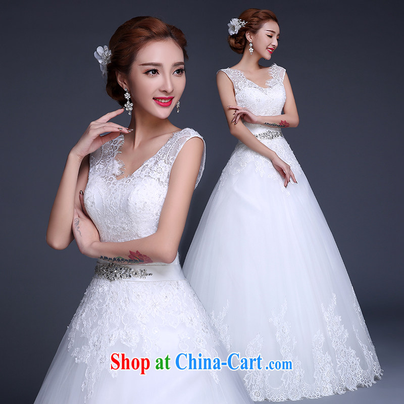 wedding dresses new 2015 Winter Fashion Korean double-shoulder V for marriages with wedding, tie-cultivating graphics thin wedding dresses white L