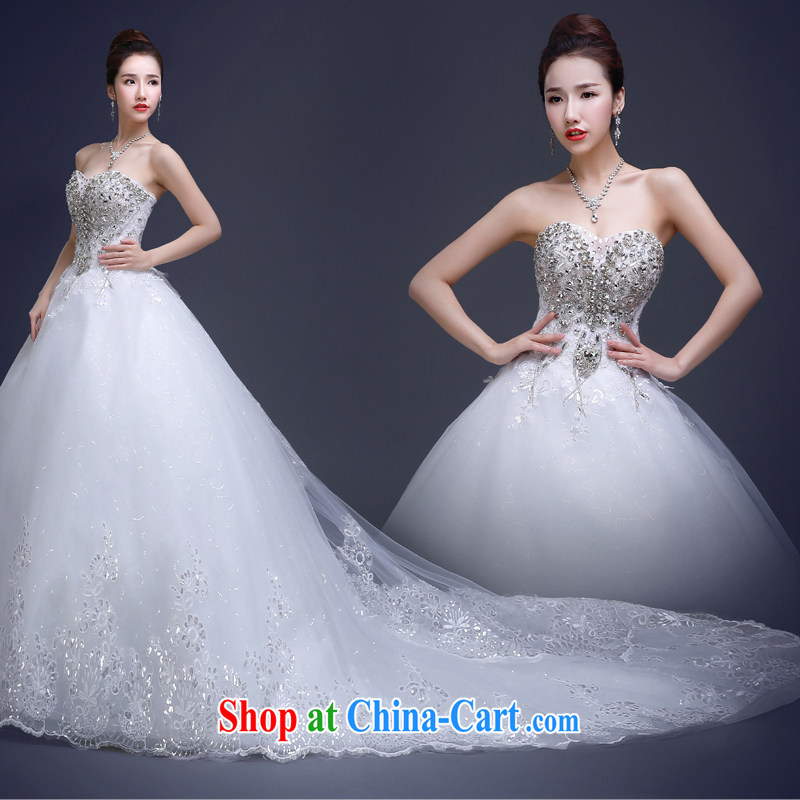 wedding dresses new 2015 summer bridal wedding long-tail large code beauty wedding Korean fashion Mary Magdalene marriage chest wedding dresses wood drill glass drill white XL