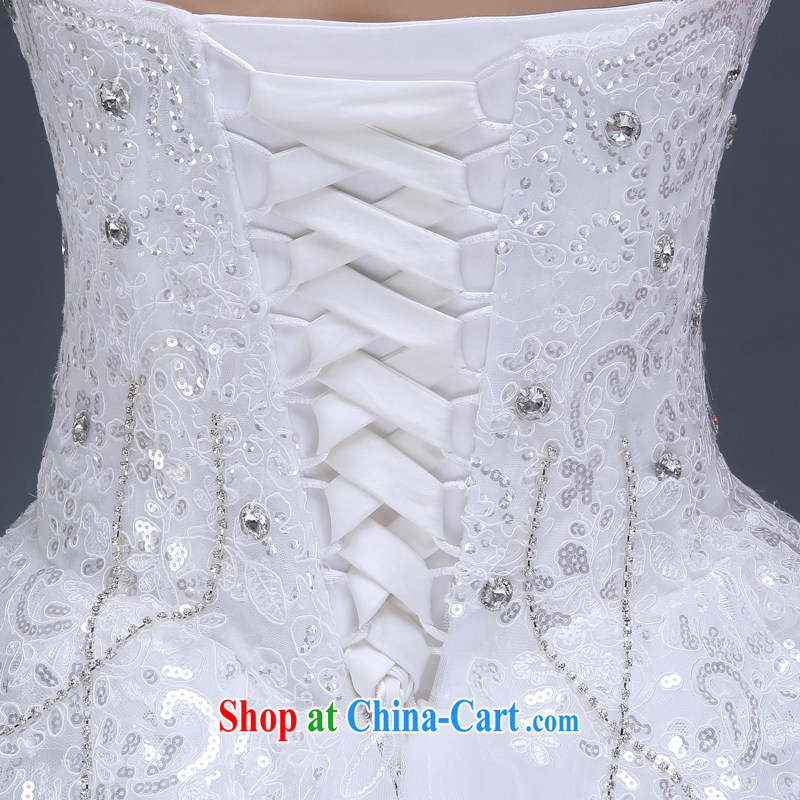 wedding dresses new 2015 summer bridal wedding long-tail large code beauty wedding Korean fashion erase chest marriage wedding dresses wood drill glass drill white XL, 100-ball (Ball Lily), online shopping