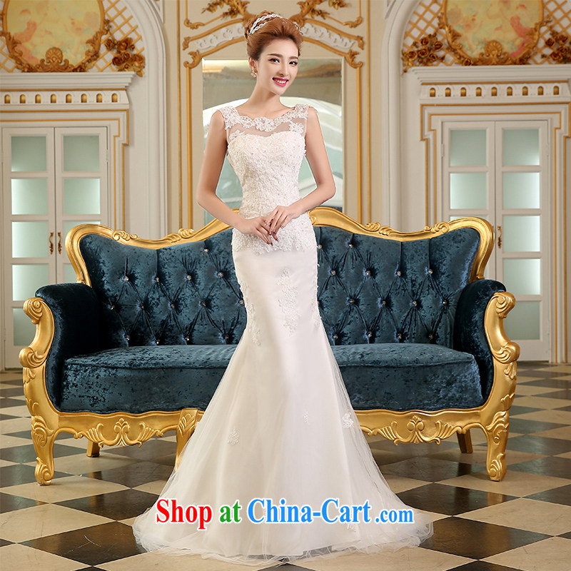 The Vanessa wedding dresses summer 2015 new marriage wedding long erase chest wedding crowsfoot tail wedding white lace beauty and stylish wedding female white M (the Chest attached gloves and Uganda)