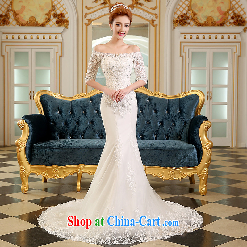 The Vanessa wedding dresses summer 2015 new marriages Wedding Fashion Korean wedding a shoulder-length, wedding white crowsfoot wedding tail wedding white S (A double-shoulder cuff in stylish)