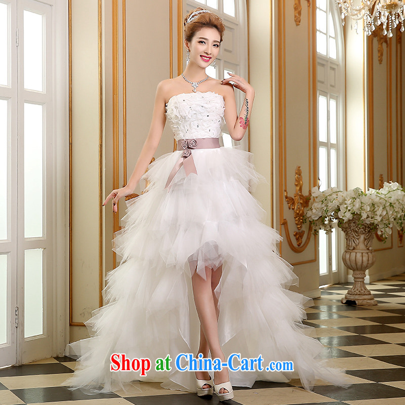 The Vanessa wedding dresses summer 2015 new Korean wedding chest bare wedding bridal marriage wedding white short-tail wedding beauty tie wedding white S _white, with small tails_