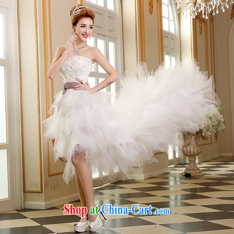The Vanessa wedding dresses summer 2015 new Korean wedding chest bare wedding bridal marriage wedding white short-tail wedding beauty tie wedding white S (white, with small tails) and Vanessa (Pnessa), online shopping