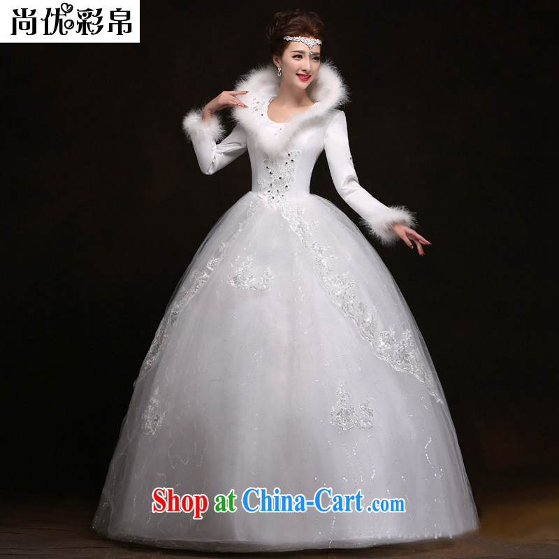 There are optimized color Kingfisher 2014 new winter bride, long-sleeved wedding thick warm winter marriage with wedding dresses winter 2063 YSB white XXL