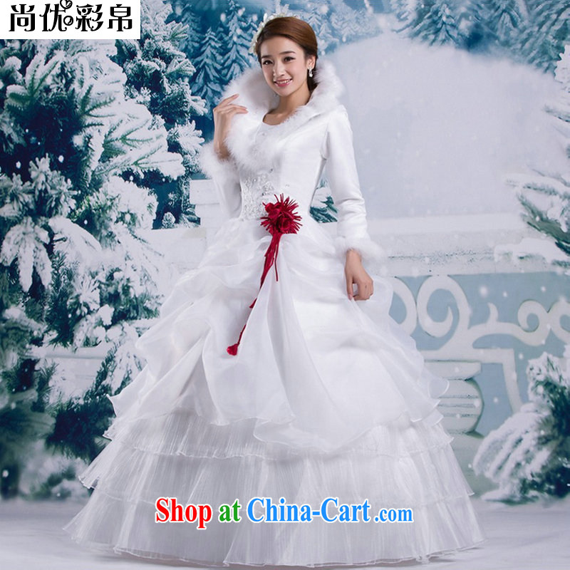 There are optimized color Kingfisher winter winter clothes new 2014 Korean winter long-sleeved wool collar thick winter, cotton wedding YSB 2064 white XXL