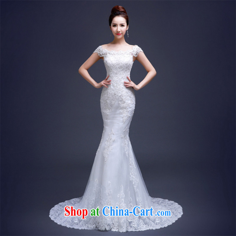 The Vanessa wedding dresses Bridal Fashion summer 2015 new lace crowsfoot wedding a shoulder-tail wedding white tie marriage wedding banquet dress white XL (the necklace earrings)